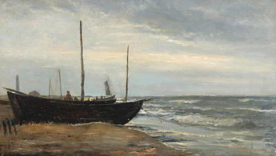 Painting -  Fishing Boats On The Beach At Skagen, In The Background The Grey Lighthouse by Holger Drachmann