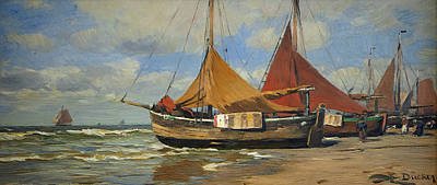 Painting - Fishing Boats On The Beach by Eugen Ducker