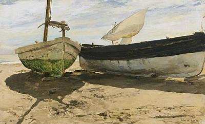 Boat On Beach Painting - Fishing Boats On The Beach, Valencia by Joaquin Sorolla