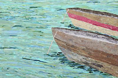 Wall Art - Tapestry - Textile - Fishing Boats by Pauline Barrett
