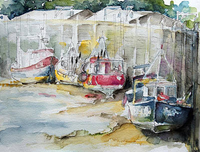 Painting - Fishing Boats Settled Aground During Ebb Tide by Barbara Pommerenke