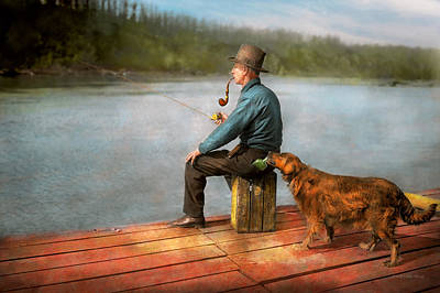 Bad Dog Photograph - Fishing - Booze Hound 1922 by Mike Savad