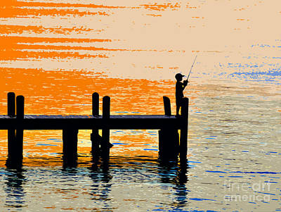 Fishing Boy Art Print by David Lee Thompson
