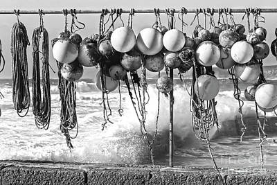 Photograph - Fishing Buoys In Black And White by Terri Waters