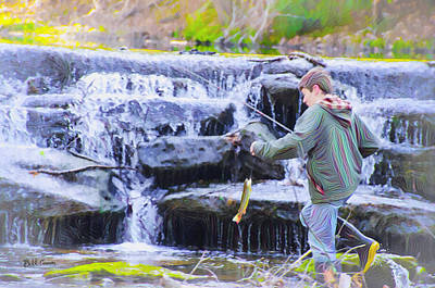 Trout Digital Art - Fishing By The Waterfall by Bill Cannon