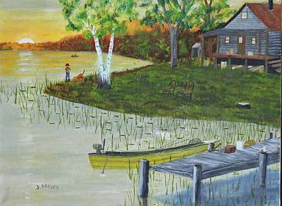 Painting - Fishing Camp by Jack G Brauer
