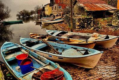Canoe Waterfall Painting - Fishing Canoes Lying Idle L A by Gert J Rheeders