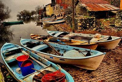 Canoe Waterfall Painting - Fishing Canoes Lying Idle L B by Gert J Rheeders