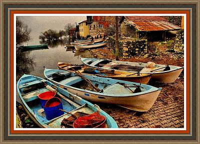 Canoe Waterfall Painting - Fishing Canoes Lying Idle L B With Decorative Ornate Printed Frame. by Gert J Rheeders