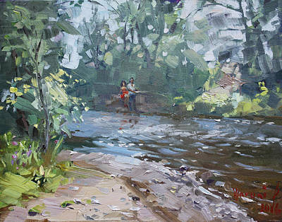 Fishing Painting - Fishing Day With Viola by Ylli Haruni