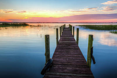 Photograph - Fishing Dock At Sunrise by Debra and Dave Vanderlaan