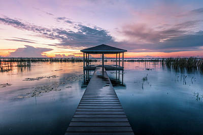 Photograph - Fishing Dock Before Dawn by Debra and Dave Vanderlaan