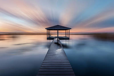 Photograph - Fishing Dock Before Dawn Dreamscape by Debra and Dave Vanderlaan