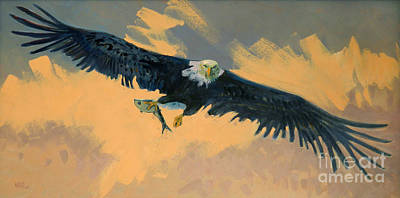 Fishing Eagle Art Print by Donald Maier