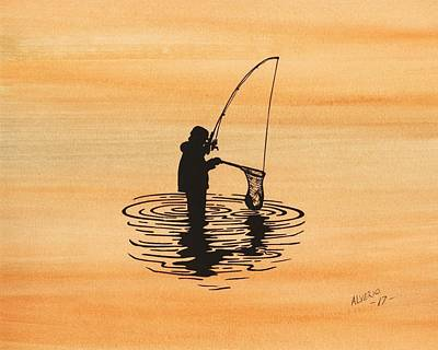 Painting - Fishing by Edwin Alverio