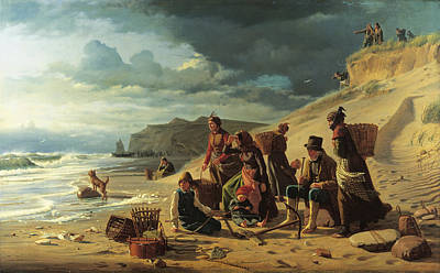 Fishing Families Waiting For Their Men To Return From An Incipient Storm. From Jutland West Coast Art Print by Carl Heinrich Bloch