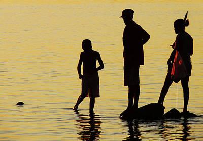 Jonny Jelinek Royalty-Free and Rights-Managed Images - Fishing Family at Sunset by Jonny Jelinek