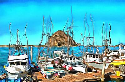 Photograph - Fishing Fleet In Front Of Morro Rock Surreal by Barbara Snyder