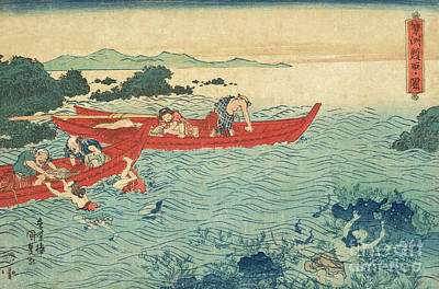 Painting - Fishing For Abalone by Utagawa Kunisada