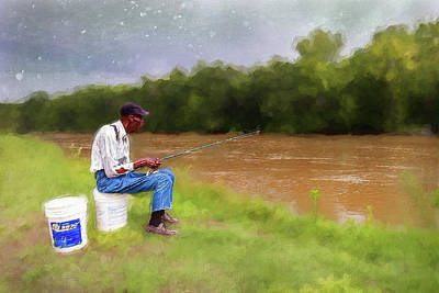 Painting - Fishing For Dinner Ap by Dan Carmichael