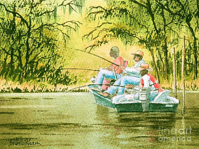 Tennessee River Painting - Fishing For Mullet by Bill Holkham