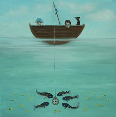 Painting - Fishing For Time by Tone Aanderaa