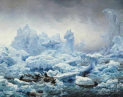 Winter Scene Painting - Fishing For Walrus In The Arctic Ocean by Francois Auguste Biard