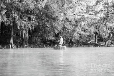 Photograph - Fishing For White Perch On Big Cypress Bayou - Bw by Scott Pellegrin