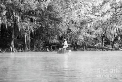 Photograph - Fishing For White Perch On Big Cypress Bayou - Bw by Scott Pellegrin