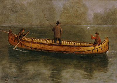 Oars Painting - Fishing From A Canoe by Albert Bierstadt