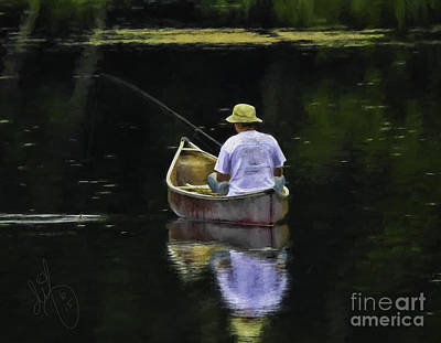 Canoe Digital Art - Fishing From A Canoe by David Francey