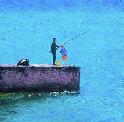 Fishing From The Pier Art Print by Jan Matson