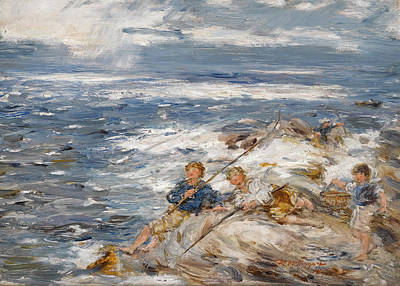 William Mctaggart Painting - Fishing From The Rocks by William McTaggart