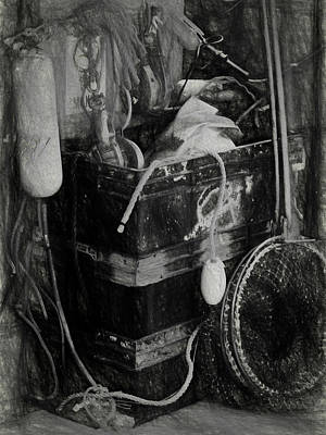 Photograph - Fishing Gear - Bw by Ron Grafe