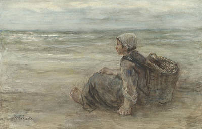 Jozef Israels Painting - Fishing Girl On The Beach  by Jozef Israels