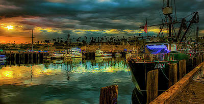 Fishing Harbor At Sunset Art Print