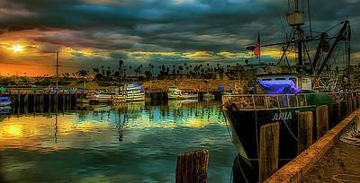 Fishing Harbor At Sunset Art Print by Joseph Hollingsworth