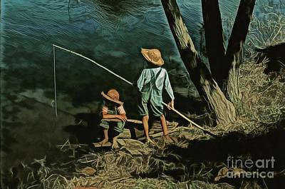 Tom Boy Digital Art - Fishing Hole by JS Stewart