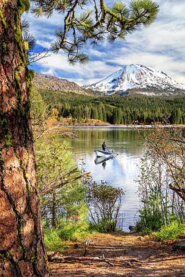 Fishing In Manzanita Lake Art Print by James Eddy