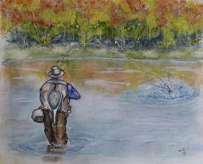Painting - Fishing In Natures Beauty by Kelly Mills