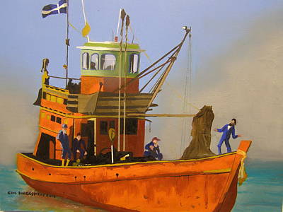 Painting - Fishing In Orange by Eric Burgess-Ray