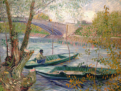 Angling Painting - Fishing In Spring, The Pont De Clichy, Asnieres by Vincent van Gogh