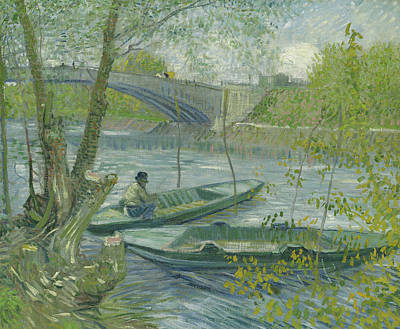 Boats In Water Painting - Fishing In Spring, The Pont De Clichy by Vincent Van Gogh