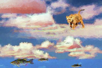 Digital Art - Fishing In The Clouds by John Haldane