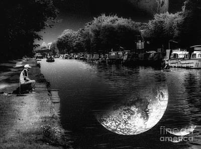 Mixed Media - Fishing In The Moonlight by Abbie Shores