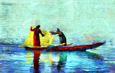 Nature Painting - Fishing In The Nile by George Rossidis