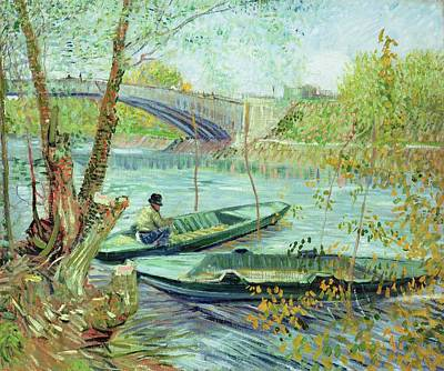 Painting - Fishing In The Spring. Pont De Clichy by Artistic Panda