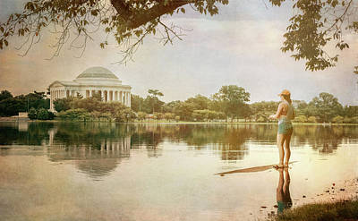 Photograph - Fishing In Washington Dc Vintage by Joan Carroll