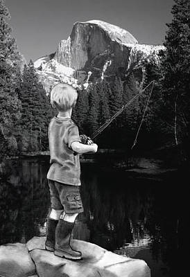 Yosemite National Park Mixed Media - Fishing In Yosemite by Joyce Geleynse
