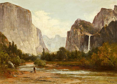 Painting - Fishing In Yosemite Valley by Thomas Hill